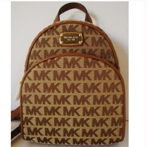 Michael Kors XS Abbey Jacquard Backpack Brown